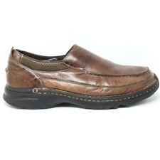 L.L.Bean Mens Loafers Antique Brown Moc Toe Leather 277341 Stitched Slip Ons 11M