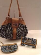Guess Los Angeles Signature Denim Purse, And Matching Wallet & Wristlet