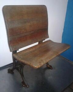 RARE VINTAGE Cast Iron & Wood Folding Student Desk Chair. BUFFALO HARDWARE Co #5