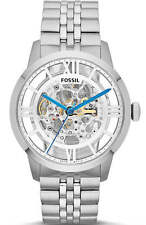 Fossil ME3044 Townsman Automatic Skeleton Dial Silver Band 44mm Men's Watch