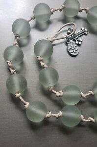 """Sea Glass Jewelry Green Satin Beaded Beach Glass Handcrafted 19"""" Necklace"""