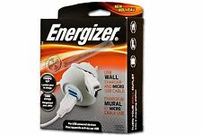 Energizer DC 5V USB Wall Charger and Micro USB Cable(New)