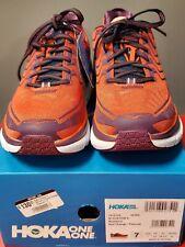 New Hoka One One Clifton 4 Women's Shoe Red Orange/Peacoat Size 38 2/3 EU 7 US
