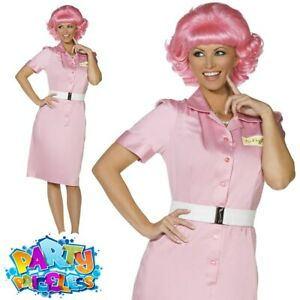Ladies Frenchy Fancy Dress Costume Grease 1950s Pink Lady Womens Outfit