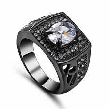 Precious Wedding Fashion SZ 9 White Topaz Black Rhodium Plated Party Bridal Ring
