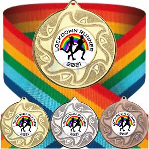 Personalised Rainbow Medal & Ribbon Lockdown Runner 2021 Winner Running Marathon