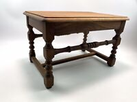 Vintage French Oak Side Table Stool Plant Stand Rustic Country Display