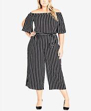 New City Chic Women's Plus Size M/18 Black Stripe Off The Shoulder Jumpsuit