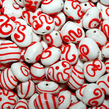 Fancy Glass Bead Heart Mix White and Red Swirls Dots Color Designs 25 beads FG18