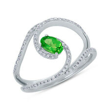 14K White Gold Oval Green Garnet And Diamond Split Band Cocktail Right Hand Ring