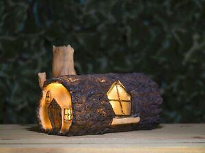 Fairy Garden Log House Solar Powered LED Light Ornament House Lamp Patio