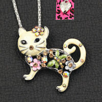 Women's Enamel Crystal Flower Cat Kitten Pendant Chain Betsey Johnson Necklace