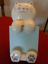 Ceramic Cat Figurine Note Pad / Paper / Note Card / Post-it Pad Holder