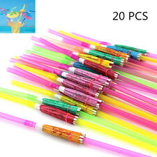 Hawaiian Theme Cocktail Umbrella Drinking Straw Assorted Party BBQ Decoration