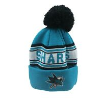 San Jose Sharks NHL Reebok Youth Boys (8-20) Cuffed Pom Knit Winter Beanie Hat