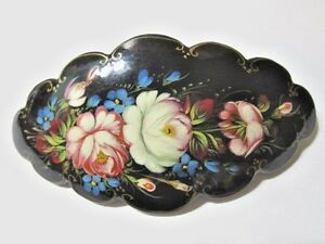 BEAUTIFUL HANDCRAFTED PAINTED LARGE CLIP BARRETTE WOOD ROSES FLOWER RUSSIA