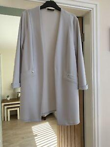 Ladies Smart 3/4 Light Grey Edge To Edge Coat/Jacket Wallis Size 14