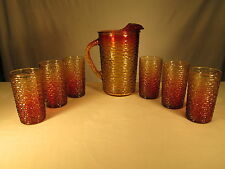 AMBERINA Carnival Mardi Gras SORENO Anchor Hocking Pitcher Tumblers Fire King