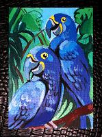 "Original art by Bastet ""Blue Parrot"" OOAK hand painted ACEO"
