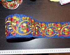 80mm blue embroidered ribbon trim indian asian decor applique sari applique