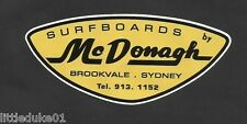 """SURFBOARDS BY MCDONAGH"" VINTAGE RETRO Sticker Decal AUSTRALIA 1960s SURFER SURF"