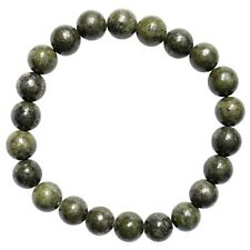 CHARGED Epidote & Pyrite Crystal 8mm Bead Stretchy Bracelet + Selenite Heart