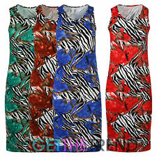Womens Floral Racer Back Dress Ladies Animal Print Jersey Muscle Summer Dress