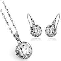 Silver and White Zircon Jewellery Set Stud Drop Earrings & Pendant Necklace S623