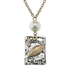 """""""Protect This Player"""" Football Charm 18"""" Adjustable Gold Tone Necklace W"""