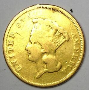 "1854-O Three Dollar Indian Gold Coin $3 - Fine Detail (Plugged) - Rare ""O"" Mint!"