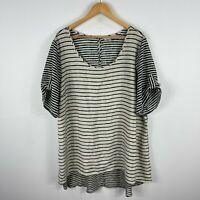 Autograph Womens Tunic Top Plus Size 22 Black White Striped Short Sleeve