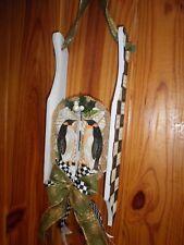 MacKenzie Childs Inspired Handmade Mini Sled Decor Wall Hanging Penguins