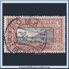 1923 Italia Regno Manzoni cent. 50 arancio e nero n. 154 Usato