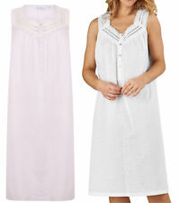 Nightdress Slenderella 100% Cotton Womens Dobby Dot Sleeveless Nightgown Nighty