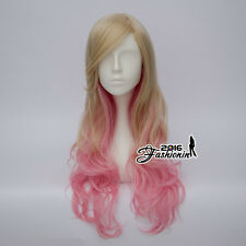 70CM Lolita Blonde Mixed Pink Ombre Curly Cosplay Wig Heat Resistant Christmas