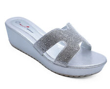 WOMENS SLIP-ON SILVER WEDGES SANDALS DIAMANTE PEEP-TOE EVENING SHOES SIZES 3-8