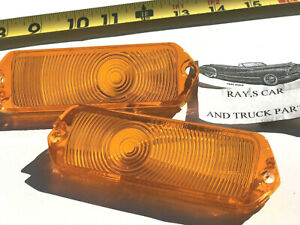 NEW PAIR REPLACEMENT 1963 CHEVROLET IMPALA BELAIR BISCAYNE AMBER PARK LIGHT LENS
