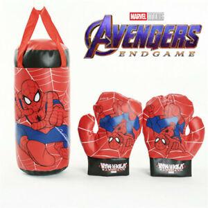 Kids Boys Marvel Avengers Spiderman Boxing Bag Gloves Punching Set Toy Boys Gift