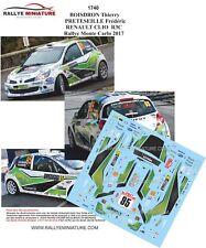 DECALS 1/43 REF 1740 RENAULT CLIO  R3C BOISDRON Rallye Monte Carlo 2017 Rally