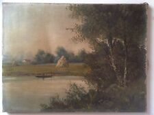 Ecole de BARBIZON Lucien HENRY XIXe Paysage barque Huile sur toile signée