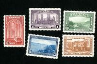 Canada Stamps # 241-5 XF OG NH Catalog Value $225.00