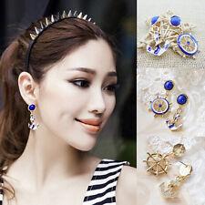 Ohrringe Ohrschmuck Ohrstecker Ruder/Anker Vintage vergoldet Emaille Perlen