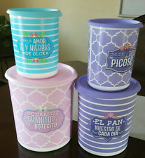 Tupperware Spanish Canisters Set of FOUR w/ Pink & Purple Seals Rare Brand New!