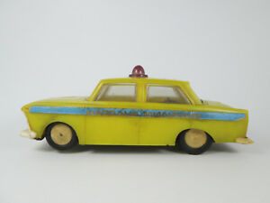 old vintage friction  toy Moskvich USSR police car yellow plastic
