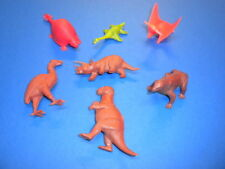 7 red brown green DINOSAURS/MAMMALS Marx/other/1960's? plastic figures lot