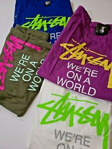 stussy world tour vintage tee t shirt 2xl XXL S white skate surf
