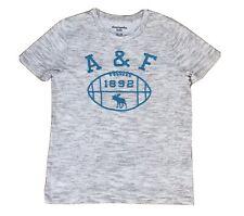 Abercrombie T Shirt A&F Logo American Football Grey &Blue Size 13/14