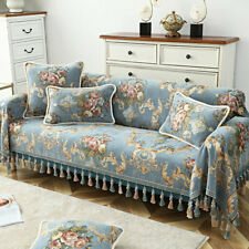 European Tassel Sofa Throw Cover Couch Slipcover 1/2/3/4 Seater Jacquard Flower