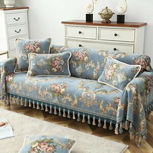 European Tassel Sofa Throw Cover Couch Slipcover 1/2/3/4 Seater Jacquard Flower