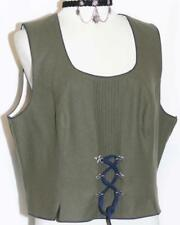 ALPHORN / GREEN ~ WOOL ~ LACE UP & PLEATED Fitted German Skirt Suit VEST 48 12 M